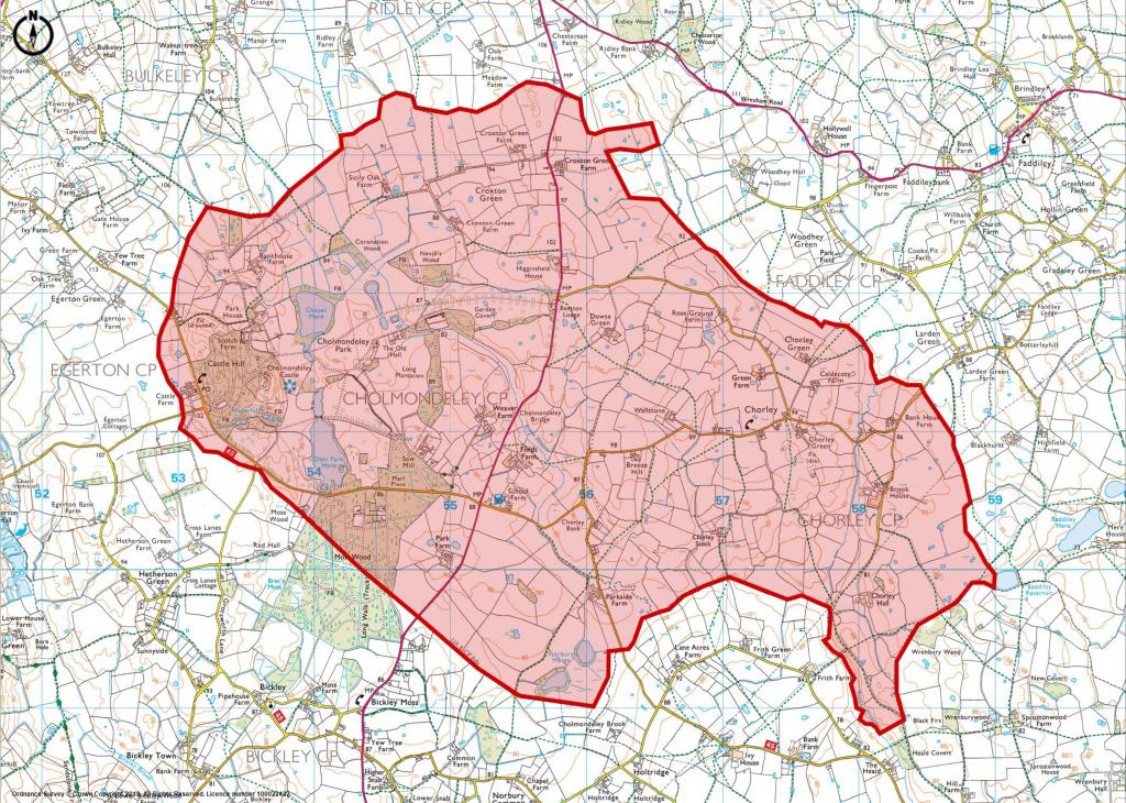 1:25000 Ordnance Survey Map Showing Cholmondeley Chorley Neighbourhood Plan Area highlighted in red