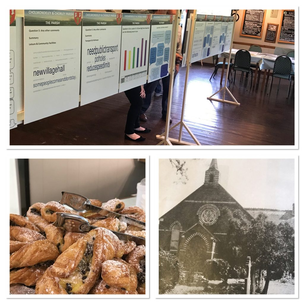 Information boards, photographs and fresh pastries at the first Consultation Event