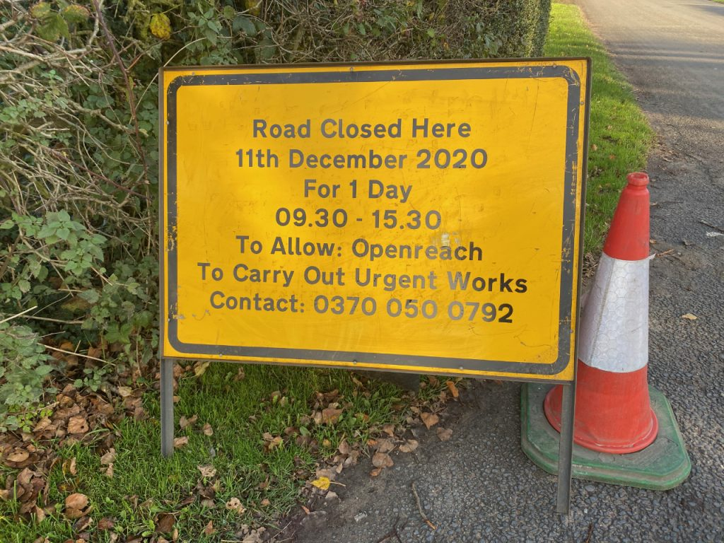 Advance notice road sign of closure of Springe Lane, Chorley on 11th December 2020